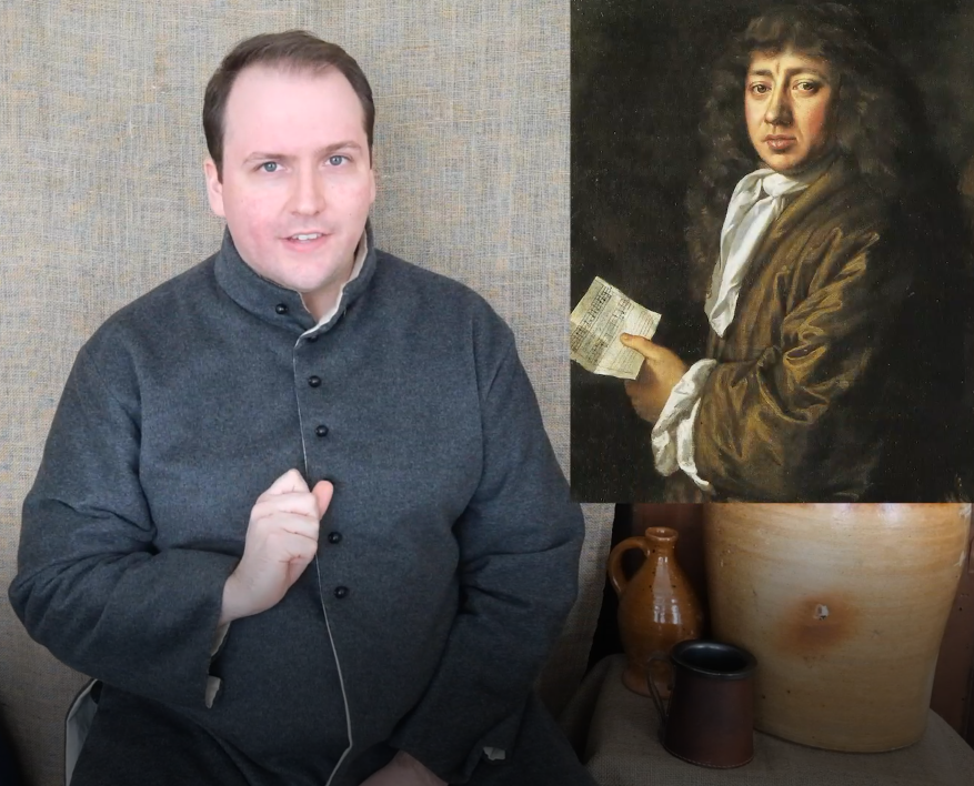 Off the Page teacher Jonathan Ward portrays an innkeeper next to an image of diarist Samuel Pepys.