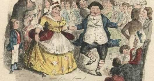 "Mr and Mrs Fezziwig dance in an original illustration from Charles Dickens' ""A Christmas Carol""."