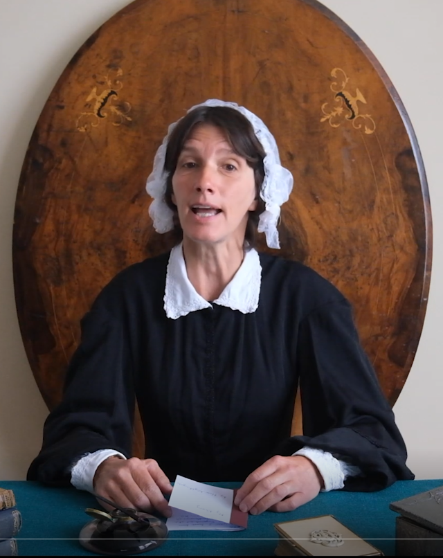 A teacher dressed as Florence Nightingale addresses the camera