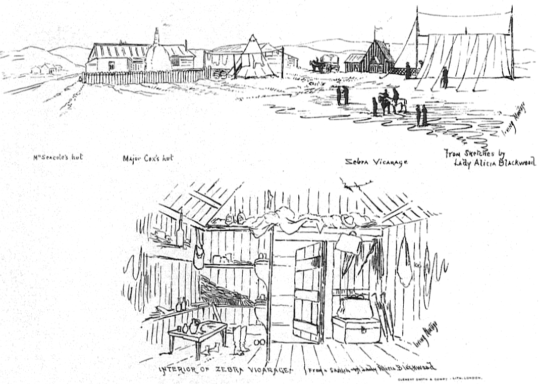 The drawing shows a row of rustic huts across the top of the sketch, and a detail of a hut interior at the bottom. The detail shows a rustic wooden interior with a bench and shelves along the walls.