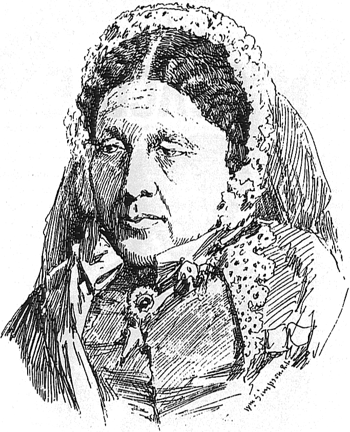 A pencil drawing by William Simpson depicts a woman with her dark hair pulled back under a lace covering. She is wearing historical clothing with a brooch near her collar.