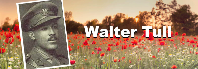 A portrait of Walter Tull in his military uniform is superimposed atop a poppy field.