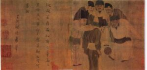 A worn manuscript has Chinese writing on the left and a small group of men playing a game similar to football on the right.