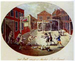 An illustration shows Georgian men in white wigs playing football in a market square.