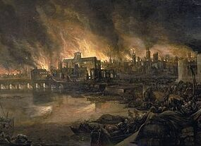 The square outline of Old St Paul's Cathedral can be seen against tall flames in the unsigned painting.