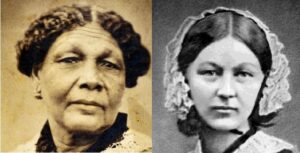 Portraits of Mary Seacole and Florence Nightingale. Both have their hair parted down the centre and lace covering their shoulders.